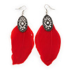 Vintage Diamante Red Feather Drop Earrings In Burn Silver Metal - 13cm Length