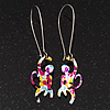 Funky Multicoloured Enamel 'Monkey' Drop Earring In Silver Tone Metal - 6cm Length