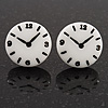 Funky Black/White Acrylic &#039;Clock&#039; Stud Earrings - 17mm Diameter