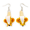 Funky Yellow 'Peeled Banana' Acrylic Drop Earring - 6cm Length