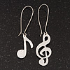 Textured &#039;Musical Notes&#039; Drop Earrings (Silver Tone Metal) - 7cm Length