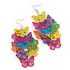 Long Multicoloured Enamel 'Butterfly' Drop Earrings - 9cm Length