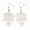 Silver Tone Lightweight 'Oak' Leaf Drop Earrings - 5.5cm Length