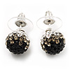 Black/Grey/Clear Swarovski Crystal Ball Stud Earrings In Silver Plated Finish -10mm Diameter