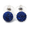 Montana Blue Swarovski Crystal Ball Stud Earrings In Silver Plated Finish - 9mm Diameter