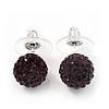 Deep Purple Swarovski Crystal Ball Stud Earrings In Silver Plated Finish - 9mm Diameter
