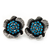 Teal Crystal Textured Flower Stud Earrings In Burn Silver Finish - 2cm Diameter