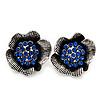Navy Blue Crystal Textured Flower Stud Earrings In Burn Silver Finish - 2cm Diameter