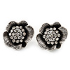 Clear Crystal Textured Flower Stud Earrings In Burn Silver Finish - 2cm Diameter