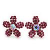 Fuchsia Crystal 'Daisy' Floral Stud Earrings In Silver Metal - 15mm Diameter
