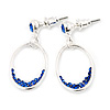 Royal Blue Crystal Oval Silver Tone Earrings - 3cm Length