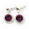 Round Purple/Clear Crystal Stud Earring In Silver Metal - 2.5cm Drop