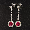 Clear/Fuchsia Crystal Drop Earrings In Silver Finish - 4.5cm Length