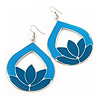 Turquoise Coloured Enamel Teardrop Hoop Earrings In Silver Finish - 8cm Length