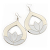 Milky-White Enamel Teardrop Hoop Earrings In Silver Finish - 8cm Length
