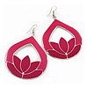 Pink Enamel Teardrop Hoop Earrings In Silver Finish - 8cm Length