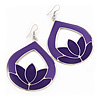 Purple Enamel Teardrop Hoop Earrings In Silver Finish - 8cm Length