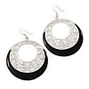 Silver Tone Black Enamel Cut Out Hoop Earrings - 7.5cm Drop