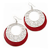 Silver Tone Red Enamel Cut Out Hoop Earrings - 7.5cm Drop
