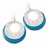 Silver Tone Turquoise Coloured Enamel Cut Out Hoop Earrings - 7.5cm Drop