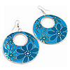 Turquoise Coloured Enamel Floral Round Drop Earrings In Silver Finish - 7.5cm Length