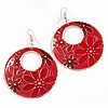 Red Enamel Floral Round Drop Earrings In Silver Finish - 7.5cm Length