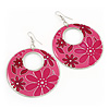 Pink Enamel Floral Round Drop Earrings In Silver Finish - 7.5cm Length