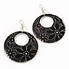 Black Enamel Floral Round Drop Earrings In Silver Finish - 7.5cm Length