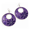 Purple Enamel Floral Round Drop Earrings In Silver Finish - 7.5cm Length