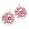 Silver Plated Pink Enamel Floral Hoop Earrings - 7.5cm Length