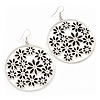 Silver Plated Black Enamel Floral Hoop Earrings - 7.5cm Length