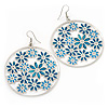 Silver Plated Turquoise Coloured Enamel Floral Hoop Earrings - 7.5cm Length