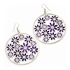 Silver Plated Purple Enamel Floral Hoop Earrings - 7.5cm Length