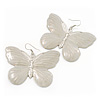 Large Antique White Enamel 'Butterfly' Drop Earrings In Silver Finish - 5cm Length