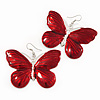 Large Red Enamel 'Butterfly' Drop Earrings In Silver Finish - 5cm Length