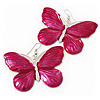 Large Magenta Enamel 'Butterfly' Drop Earrings In Silver Finish - 5cm Length