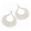 Large Teardrop Milky-White Enamel Floral Hoop Earrings In Silver Finish - 8cm Length