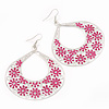 Large Teardrop Pink Enamel Floral Hoop Earrings In Silver Finish - 8cm Length