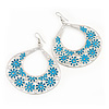Large Teardrop Teal Coloured Enamel Floral Hoop Earrings In Silver Finish - 8cm Length
