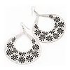 Large Teardrop Black/Grey Enamel Floral Hoop Earrings In Silver Finish - 8cm Length