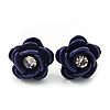 Small Deep Purple Enamel Diamante &#039;Rose&#039; Stud Earrings In Silver Finish - 10mm Diameter