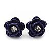 Small Deep Purple Enamel Diamante 'Rose' Stud Earrings In Silver Finish - 10mm Diameter