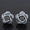 Small White Enamel Diamante &#039;Rose&#039; Stud Earrings In Silver Finish - 10mm Diameter