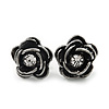 Small Dark Grey Crystal 'Rose' Stud Earrings - 10mm Diameter