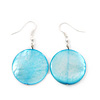Light Blue Shell 'Coin' Drop Earrings In Silver Finish - 4cm Length