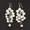 White Faux Pearl Cluster Drop Earrings In Silver Finish - 7cm Length