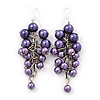 Purple Faux Pearl Cluster Drop Earrings In Silver Finish - 7cm Length