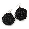 Black Glass Bead Dimensional 'Rose' Drop Earrings In Silver Finish - 4.5cm Drop