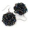 Peacock Glass Bead Dimensional 'Rose' Drop Earrings In Silver Finish - 4.5cm Drop