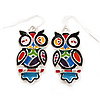 Funky Multicoloured Enamel Owl Drop Earrings In Silver Tone Metal - 4cm Length